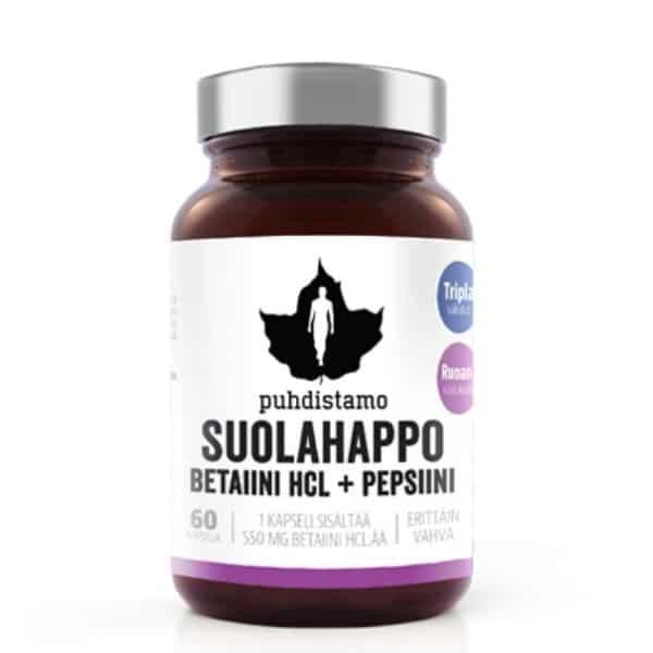 Suolahappo + pepsiini 60 kaps - Puhdistamo