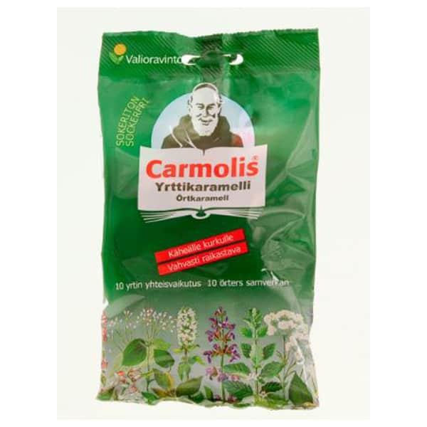 Carmolis Sokeriton Yrttikaramelli 72g - Valioravinto